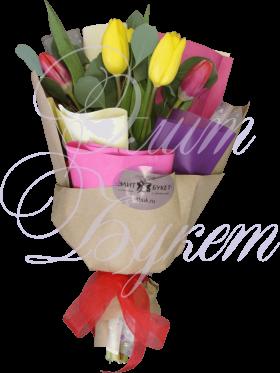 5 тюльпанов и эвкалипт