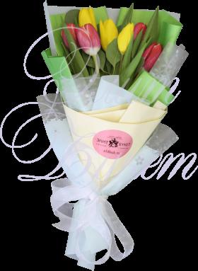 7 тюльпанов с эвкалиптом «Лёгкость»