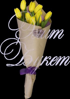 9 тюльпанов желтых в крафте «Солнечный»