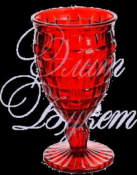 Бокал стеклянный плетеный красный