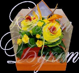 Букет в коробке «Оранжевое настроение»