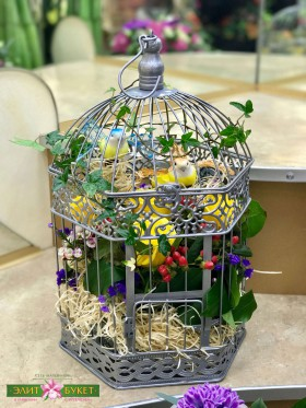Букет в коробке «Птицы в клетке»
