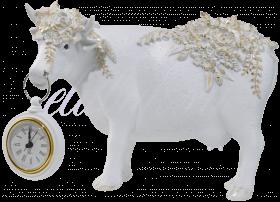 Корова Белая с Золотистыми Цветами и Часами (Полистоун)