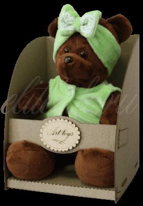 Мишка в зеленой повязке с бантиком