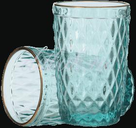 Стакан для Воды Стеклянный Голубой с Золотистой Каймой Люкс H 12 x D 8