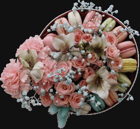 Цветы и макаронс в коробке «Изысканно»