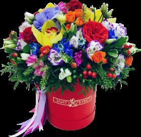 Цветы в коробке «Сияние красок»