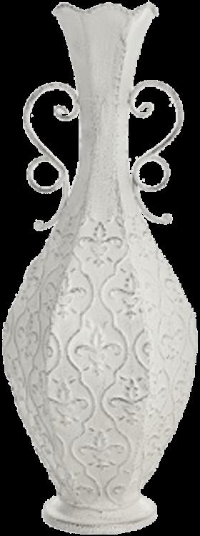 Ваза напольная металлическая белая узкая