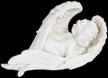 Ангел белый спящий в крыльях