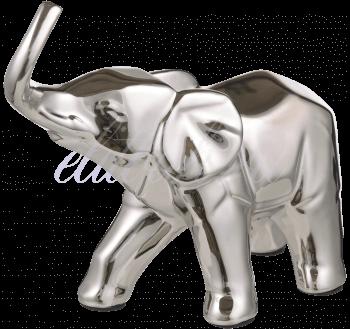 Керамическая Серебристая Декор Фигура Слона M