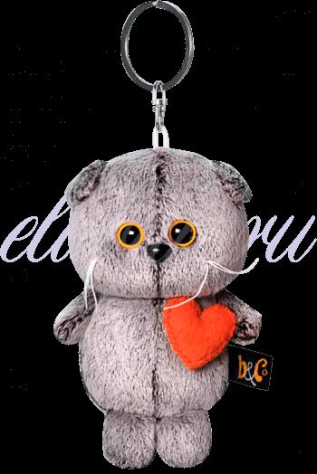 Кот Басик брелок с сердечком