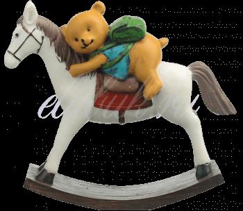 Мишка с Рюкзаком на Лошадке-Качалке (Полистоун) 18x20x6