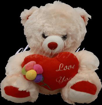 Мишка с сердцем и цветком