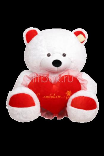 Мишка Валентин белый с сердцем 120 см