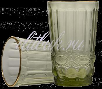 Стакан Стеклянный Зеленый с Золотистой Каймой Regal